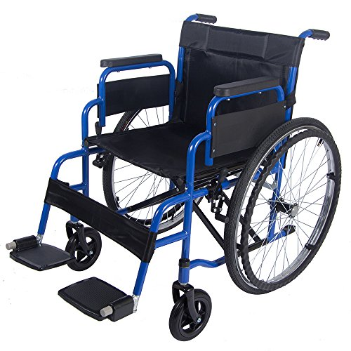 Lightweight Folding Self Propelled Wheelchair with 18 inch Seat, Blue