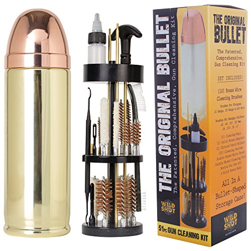 Wild Shot Deluxe Gun Cleaning Kit in Bullet-Shaped Case, Cleaning Tools to Effectively Maintain Handguns, Shotguns and Rifles