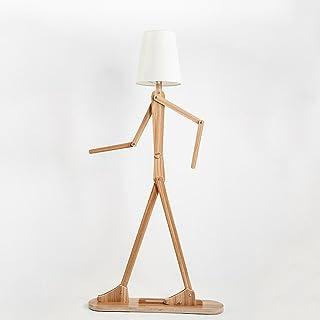 LOFAMI En bois Original Lampadaire Variété Caractère Modélisation Ombre Lin Blanc Moderne Cool Standing Lumière pour Chamb...