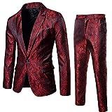 Longra-Uomo Abito Uomo 2 Pezzi Slim Fit Smoking Elegante Blazer da Matrimonio One Button Vestito di Natale Stampato Pantaloni e Giacca Nero Rosso Viola