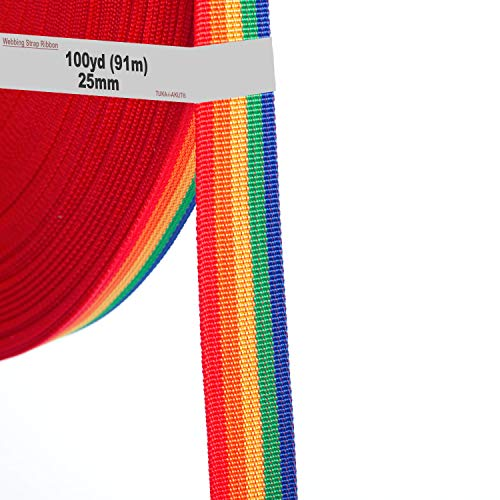 91 m x 25 mm Cinta del Arco Iris, Correas de Polipropileno Arcoíris de Colores - Cinta de Cinturón de Lona Colorida para Decoración Bricolaje Craft Mochila Flejes Delantal Bolsas, TKB5073-colorful