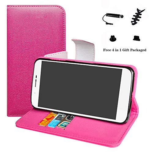 LFDZ Archos 55 Helium Hülle, [Standfunktion] [Kartenfächern] PU-Leder Schutzhülle Brieftasche Handyhülle für Archos 55 Helium / 55 Helium Ultra Smartphone (mit 4in1 Geschenk Verpackt),Pink