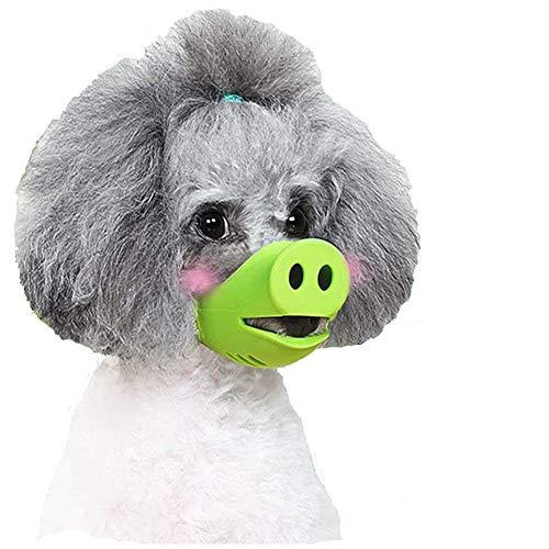 Anti Biss Dog Silikonmaske Maulkörbe für das Beißen Kauen, Hund Anti Beißen/Bellen Maulkorb Lustige Schwein Mundform Welpen Maulkörbe Masken für kleinen Hund,M