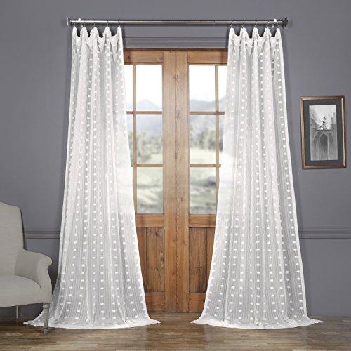 HPD Half Price Drapes SHCH-119-96 Patterned Faux Linen Sheer Curtain (1 Panel), 50 X 96, Strasbourg Dot