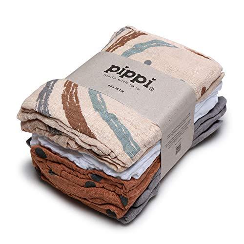 Pippi Unisex-Baby Organic cloth Muslin Handkerchief, Sandshell, 65x65
