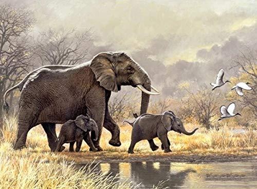 JHGJHK Elefante y Elefante bebé Pintura de Paisaje Animal Arte decoración Pintura al óleo