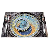 None Brand Astrological Clock Placemats Set of 6 and 4 Crossweave Woven Vinyl Placemat for Kitchen Table Heat Resistant Non-Slip Kitchen Table Mats Easy to Clean (6pcs and 4 pcs Placemats)