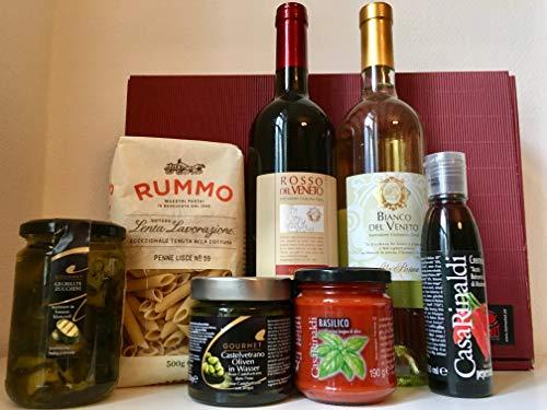 Bella Italia Vino & Pasta XL Geschenkset Rotwein | Weißwein | Pasta | Antipasti | Sugo