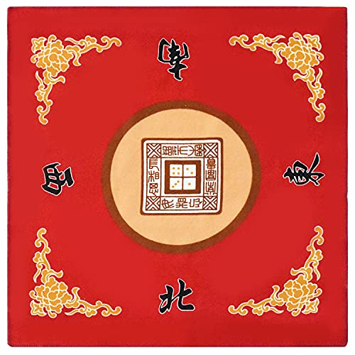 Mahjong Mat Anti Slip Noise Reduction Table Cover for Mahjong Paigow Poker 31.5 x 31.5 Inches