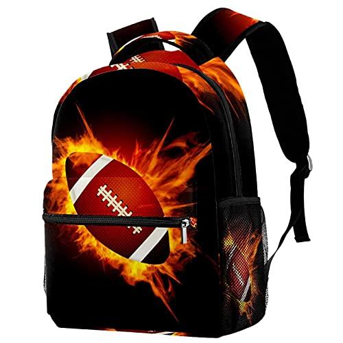 Freizeit Campus Reiserucksack, Rugbyball, Feuer, schwarze Taschen mit Flaschenhalter für Mädchen und Jungen