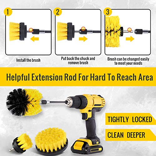 Drill Brush Attachment Set - Power Scrubber Brush Cleaning Kit - All Purpose Drill Brush with Extend Attachment for Bathroom Surfaces, Grout, Floor, Tub, Shower, Tile, Corners, Kitchen and Car