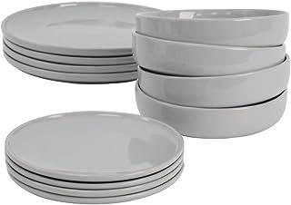 ProCook Stockholm - Service de Table en Grès - 12 Pièces/Pour 4 Personnes - Style Scandinave - Petite Assiette, Grande Ass...