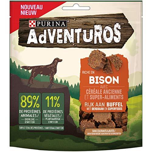 ADVENTUROS – Snacks Rico en Bison con Cereales Antiguos y superalimentos – 90 g – Dulces para Perros
