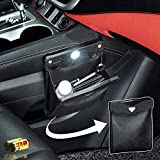 車用ゴミ箱 車載ゴミ袋 車用収納ケース 防水 磁気付き レザー製 LEDセンサーライト照明 高級感 折りたたみ式 車前後部座席/部屋/オフィスに最適 2個ごみ袋付き (ブラック)