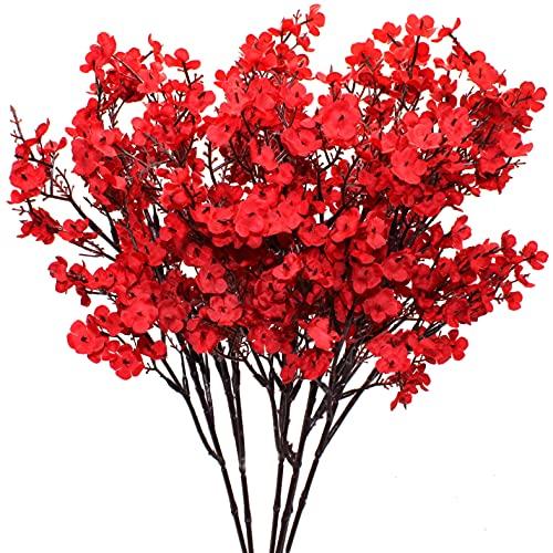 Künstliche Blumen, 6PCS rote Gypsophila...