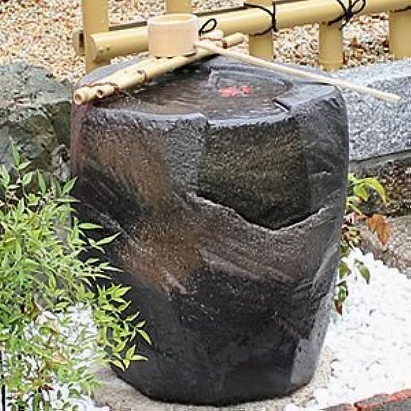 規模望まない渇き信楽焼 紫香楽 湧き水つくばい 電動つくばい 水琴窟つくばい 陶器かけひ 蹲 循環式つくばい ウォーターオブジェ dt-0004