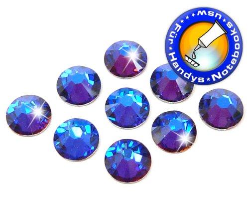 Swarovski 100 Stück Elements 2058 XILION - KEIN Hotfix, Farbe Crystal Meridian Blue, SS5 (Ø ca. 1,8 mm), Strass-Steine zum Aufkleben