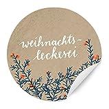 24 Weihnachtssticker, MATTE Papieraufkleber Weihnachts-Leckerei, Beige Blau, Aufkleber für...