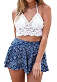 Camisolas Mujer Bikini Crochet Sin Mangas V Cuello Espalda Descubierta Slim Fit Crop Tops Verano Playa Vintage Hippie Boho Ganchillo Bikini Top Tank Top