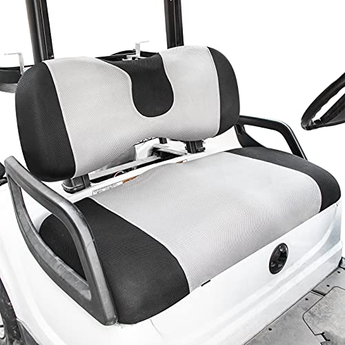 Golf Cart Seat Cover Set Fit for Club Car, EZGO, Yamaha, Breathable Air Bench Seat Covers Keep The Seats Cool in The Summer Heat Washable Polyester Mesh Cloth Without Logo-Gray-Large