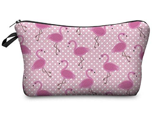 Modische Kulturtasche Kosmetikbeutel Schminktasche Make-Up Bag Kulturbeutel Wasserabweisend Originelle Print-Motive für Reisen, Urlaub und Alltag (Bingo Flamingo)
