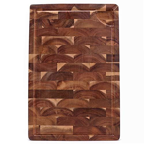 Gran tabla de cortar de madera de acacia gruesa multipropósito con ranura de jugo, tablero de picado de grano final for cocina 18x12x1.4 (Color : 380x280x28mm)