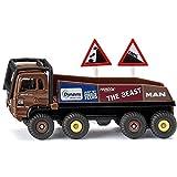 Siku 1686, HS Schoch 8x8 MAN Truck-Trial, Metall/Kunststoff, 1:87, braun, Inkl. 2 Warnschilder, Kombinierbar mit Siku Modellen im gleichen Maßstab -