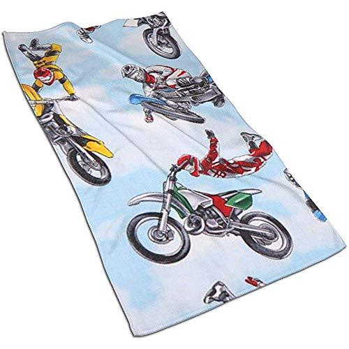 Snbin Azul Moto Motocross Deportes Toallas de Microfibra Toallas de Mano Toallas de Secado rápido Toallas Deportivas (40x70cm)