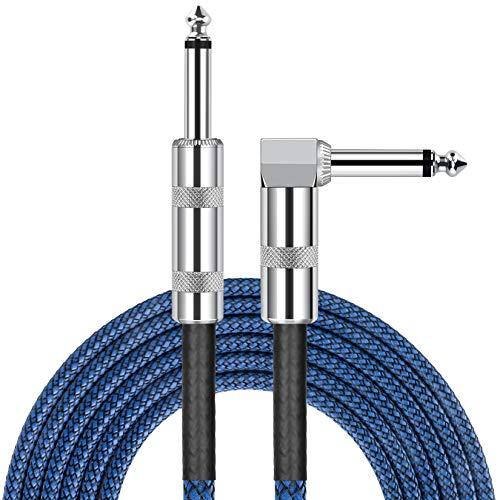 JOLGOO Gitarrenkabel, 3 m Bass, Keyboard, Instrumentenkabel, gerade auf rechtwinklig, 6,35 mm Stecker, Blau und Schwarz Tweed-Stoff, elektrische Mandoline, Pro Audio