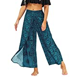 Lu's Chic Women's Boho Pants Wide Leg Harem Yoga Gaucho Flowy Bohemian Indian Side Split Palazzo Lounge Casual Printed Slitted Slits Beach Summer Blue Floral Pant Patterned1 Large-X-Large