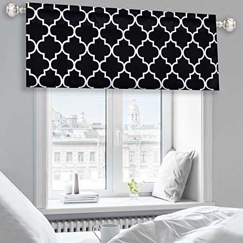 Moroccan Fashion Room Darkening Rod Pocket Window Curtain Valance for Kitchen/Dining Living Room/ Bathroom Kids Girl Baby Room - 52 by 18 Inches Long Black and White 1 Piece