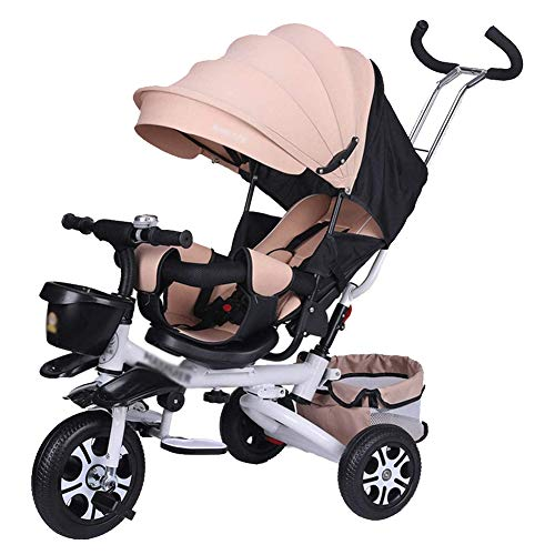LIERSI Kinder-Trike, 4 in 1 Trike Doppeln Leichtes Kind 3 Rad Dreirad Fahrrad Mit Korb, Baby Kindersitze Trolley Für 1-7 Jahre Alt, Mehrfarbig,Beige
