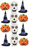 Image: Halloween Mini Pinatas Party Favor Sugar Skull, Witch Hat, Pumpkin - Assorted 12 pack | Brand: Halloween Hooray
