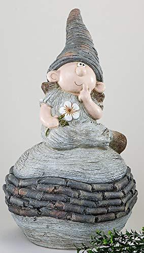 Gartenfigur Zwerg auf Kugel, 54 cm, creme-braun - 2