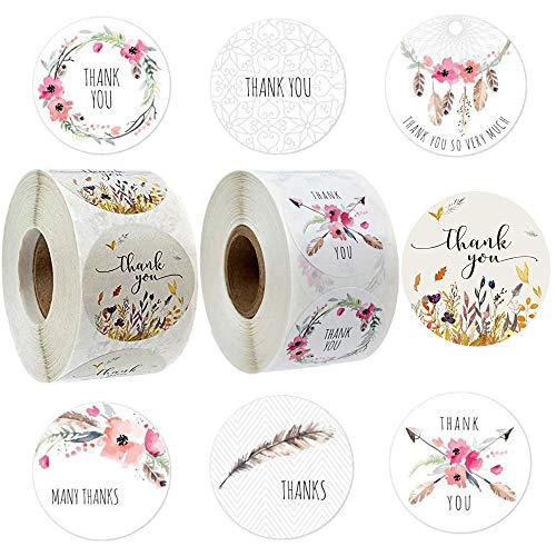 1000 unidades otoño floral gracias pegatina adhesivos redondos adhesivos para sobres DIY hornear decoración del banquete de boda,2.5 cm de diámetro,7 Estilos