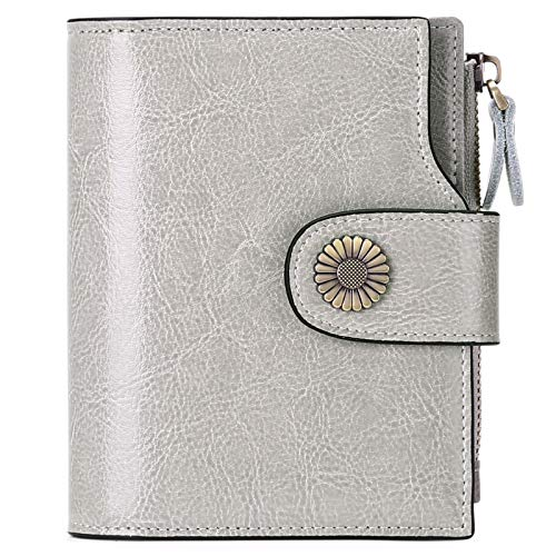 SENDEFN Small Women Wallet Genuine Leather RFID Blocking Bifold Small Purse (Grey)