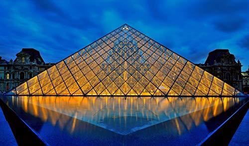 OKOUNOKO Puzzles De 1000 Piezas para Adultos Museo De La Pirámide del Louvre Montaje De Madera Decoración para El Juego De Juguetes para El Hogar Gran Regalo Educativo para Niños