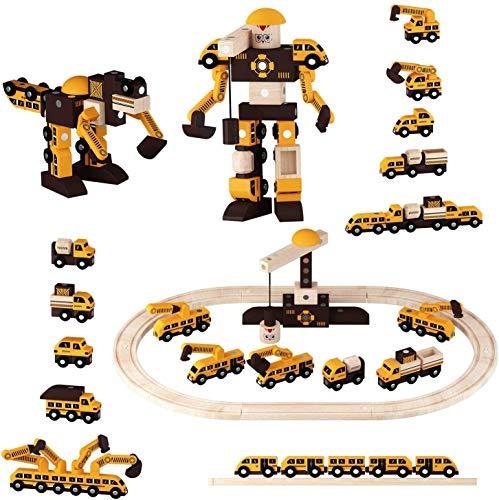 Ohuhu Holzeisenbahn Set, 40 Stück, Holzeisenbahn Roboter 2 IN 1 Zubehör, mit Holzschiene & Exklusiver Kran & Anhänger, Ideales STEM-Spielzeug für 3 4 5 6 Jahre
