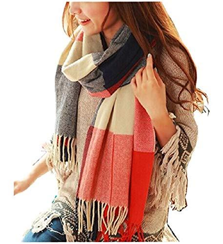 Women's Long Plaid Blanket Chunky Oversized Winter/Fall Warm Scarf Big...