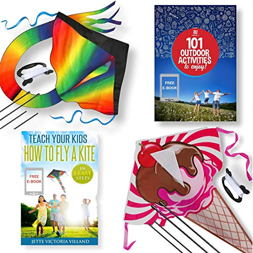 aGreatLife 2 Pack of Easy Flyer Kite for Kids, Huge Rainbow and Ice Cream Kite - Easy to Fly for Outdoor Games and Activities - Easy to Fly and Soars High