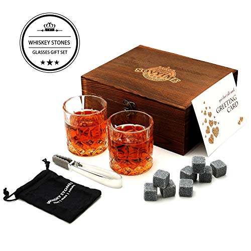 Whisky Stones Bril Gift Set, 2 Crystal Scotch Bril 8 Graniet Chilling Rocks, Houten Gift Box Burbon cadeau voor Whisky Lovers/Mannen/Kerstmis/Verjaardag/Vakantie/Pensioen/Vaderdag Crystal Glasses Set