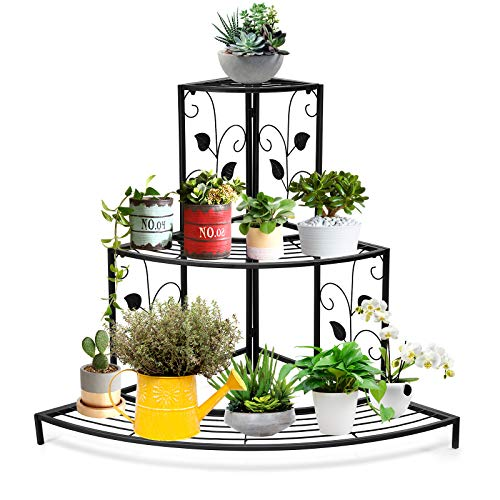 corner shelf unit for flowers Giantex 3 Tiers Corner Shelf Metal Plant Stand, Stair-Step Style Flower Pot Display, Ladder Plant Display Rack, Quarter Round Plant Shelf for Indoor Outdoor Use