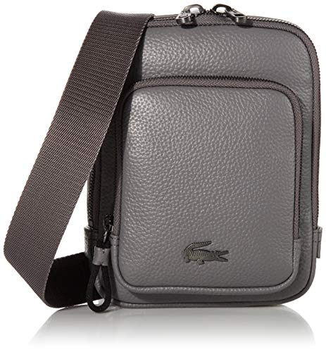 Lacoste Damen Mens Leather Small Crossover Bag Umhängetasche, Smoked Pearl, One size