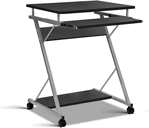 Office Computer Desk Metal Student Table Pull-Out Tray Mobile Home Black
