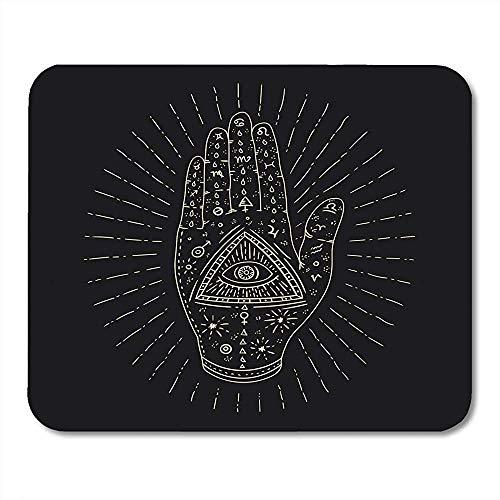 Mauspad Türkisches Mystisches Handauge Hamsa Fatima Tattoo Alchemie Amulett Mauspad 25X30Cm