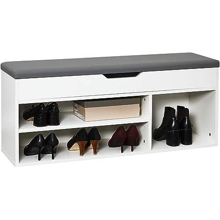 Meerveil Banc de Rangement à Chaussures avec Coussin d'assise 104 x 30 x 45 cm Meuble à Chaussures en Bois, Pour l'Entrée Blanc