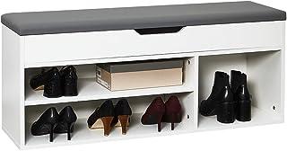Meerveil Banc de Rangement à Chaussures avec Coussin d'assise 104 x 30 x 45 cm Meuble à Chaussures en Bois, Pour l'Entrée ...