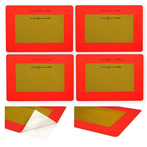 Achterwaarschuwingsbord voor aanhangers en opleggers ECE 70.01 – op aluminium plaat – 4 x kwartmarkering (elk 283 x 195 mm) – geel reflecterend en rood fluorescerend