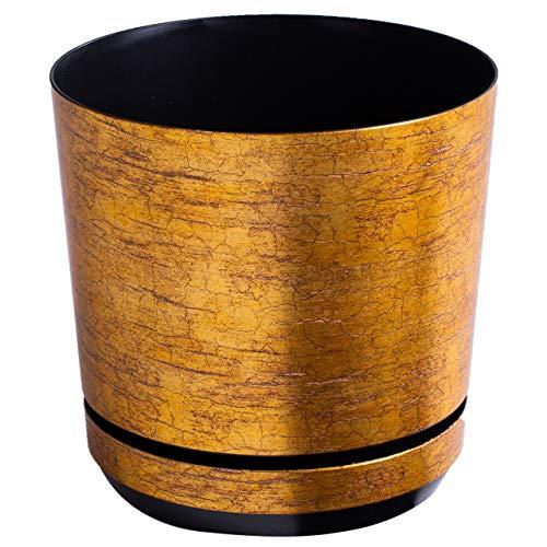 KORAD Blumentopf/Übertopf Antikes Gold 26 cm - Pflanzkübel aus Hochwertiger Kunststoff - Dekorativer Gold Topf für Pflanzen