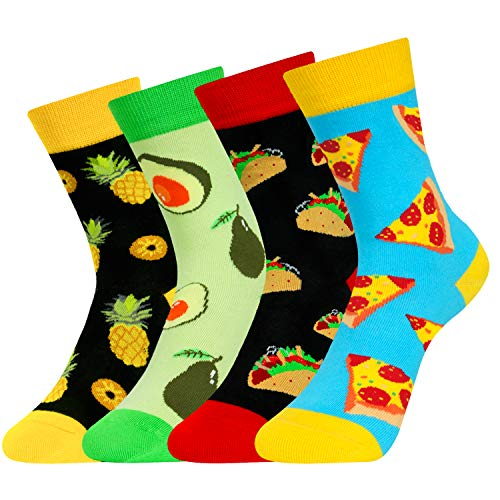 Kids Boys Funny Novelty Socks Crazy Pineapple Food Fruit Girls Crew Socks 4 Pack